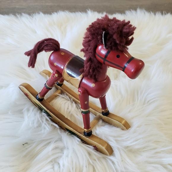 3/$20 VTG Christmas Wooden Rocking Horse Figure